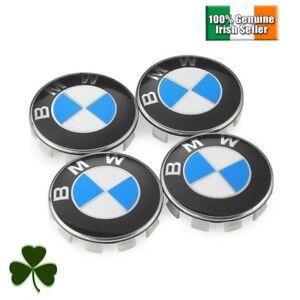 4x BMW SERIES 1 3 5 X1 X3 X5 MSPORT Alloy Wheel Centre Caps 68mmBlue & White