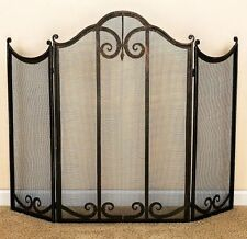 "Fireplace Screens - ""Highclere"" 3-Panel Fireplace Screen - Burnished Gold Finish"