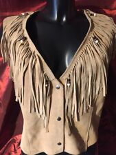 HB Native American Indian vintage in pelle scamosciata nappa GILET Con Frange Made in USA L