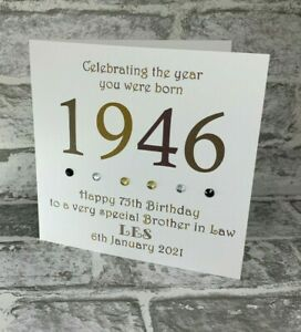75th 1946 Year You Were Born Birthday Card Personalised Dad Brother Grandad Bro