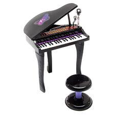 37 Key Kids Mini Toy Grand Piano Electronic Keyboard w/ Stool & Microphone Black