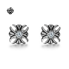 Silver crystal earrings stainless steel cross stud new arrival 2019 soft gothic