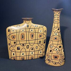 "Raymond Waites Miro / City Modern Vase ~ Set of 2 ~ Toyo Trading Co ~ 18"" & 13"""