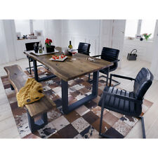 Tischgruppe Queens Parzival Tisch Bank 4 Stühle Akazie massiv Natur und schwarz