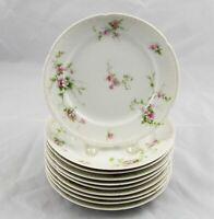 "10 Charles Field Haviland GDA Limoges Salad Dessert Plates Pink Flowers 7-1/4"""