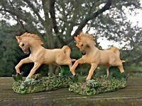 Vintage SET of 2 ARABIAN HORSES Miniature Statue Figurine Estate UNIQUE 3/3 ❤️j8