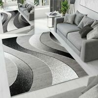 Large New Modern Abstract Grey Rug Wave Pattern Non Shed Short Pile Area Rugs