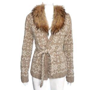 SAKS FIFTH AVENUE 100% Cashmere Sweater Cardigan Aztec Fair Isle Fur Medium 6742