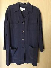 Jaeger 100% Silk Shirt Tunic 4 Pockets Casual Size 8 UK 10 Purple Button Down