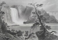 CANADA Chute Montmorency River Falls near Quebec - BARTLETT Antique Print