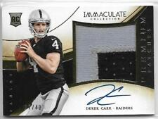 2014 Immaculate Derek Carr On Card Auto 2 Color Jumbo Patch Rc # 17/49