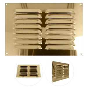 """SOLID BRASS LOUVRE AIR VENT 9""""x6"""" DOUBLE BRICK Duct Grille Cover Ventilation UK"""