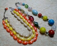 VINTAGE TO NOW COLORFUL MULTI STRAND & CHUNKY LUCITE BEADED NECKLACE LOT