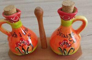 Décoration Cuisine POTS vinaigre/huile olive avec support