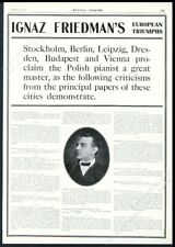 1914 Ignaz Friedman photo piano recital tour booking trade print ad