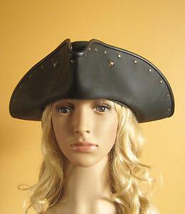 Pirate Leather Hat Medieval Renaissance Larp Tricorn Studded Hat