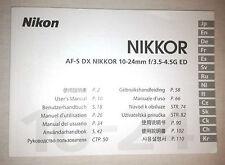 Nikon AF-S DX Nikkor 10-24mm f3.5-4.5G ED User's Manual