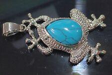 Genuine natural Blue Turquoise Gemstone Copper Frog Pendant 18KGP