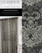 1 PAIR GLAMOUR HOME LANA BLACK/GOLD CONCEALED TAB TOP CURTAINS 2 X 140CM X 213CM