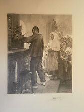 Planche gravure L'ex voto d'aprés Henri Royer Graveur Albert Ardail