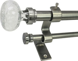 "North Branch Crackle Glass Knob Adjustable Double Curtain Rod Pewter 36"" - 72"""