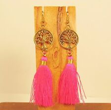 "3"" Long Hot Pink Tassel Tree of Life Charm Boho Style Handmade Dangle Earring"