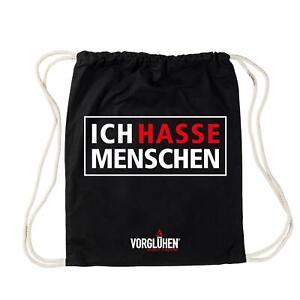 """VORGLÜHEN Turnbeutel - """"ICH HASSE MENSCHEN"""", Schwarz, Baumwolle, mit Spruch"""