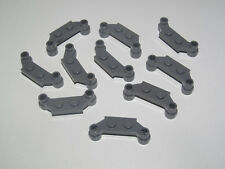 Lego ® Lot x10 Plaque Support Plate Modified 1x4 Offset Dark Stone Grey 4590