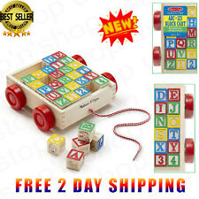 Toddlers Cart Learning ABC 123 Alphabet Education Wooden Block Play Activity Toy