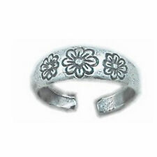Toe Ring Half Finger Open Knuckle Adjustable 925 Sterling Silver Daisy Flowers