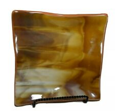"""Vtg 8.5"""" Square Carmel Slag Glass Tray Plate Catch - All with Tempered Back"""