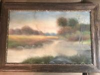 """Antique """"Pond And Landscape Scene"""" Pastel Painting - Framed"""