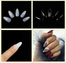 Short Almond / Stiletto Acrylic Fake Nail Tips Full Cover Clear Natural 12 Size