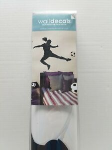Lot 26 Studio Wall Decal Female Soccer Player Assembled 46X35 Black Silhouette