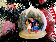 VINTAGE GERMAN DIORAMA ST.PETER&ANGEL&CHENNILE TREE MICA&PUTZ XMAS ORNAMENT