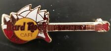 Hard Rock Cafe pin Sydney Red Guitar with Sydney Opera House HRC Logo Back #9451