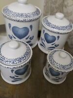 "Corelle / Jay Imports ""Blue Heart"" 4 piece Canister set"