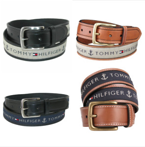 Tommy Hilfiger Men's Leather & Cotton Ribbon Inlay Belt Navy Black Natural