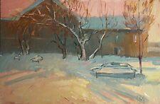 Sketch at sunset winter landscape by Armenian artist Batmanyan oil Painting