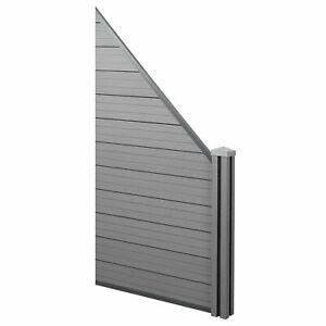 Wpc-Sichtschutz Sarthe, Wpc-Pfosten D'Extension Oblique, 0,98m Gris