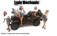 American Diorama Figure: Set of 4 Lady Mechanic 1:18 Scale