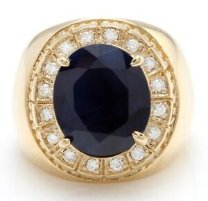 9.85 Carat Natural Sapphire and Diamonds in 14K Solid Yellow Gold Men's Ring