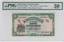 Hong Kong , Chartered Bank  1959 P- 62 5$  DOLLARS PMG 30 . Rare