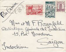 ROW310) Indochina 1947 inwards mail. Small airmail cover from Morocco