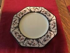 Wedgwood  And Co Octagon Plate Art Deco Black Trees Orange Floral