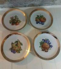 X4 Gold Rimmed Fruit Plates China Set Side Plates Dinnerware Czechoslovakia