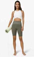 "New Lululemon SHR Blissful Bend SHR Shorts 8"" Size 14 Army Green Super-High Rise"