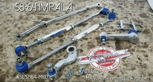 Chrome Steering Linkage BLUE Kit 58-64 Impala