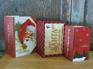 Christmas Nesting Stacking Boxes Books Night Before Christmas & Stories Set of 3