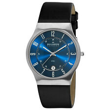 Skagen 233XXLSLN Men's Denmark Leather Strap Blue Dial Quartz Watch